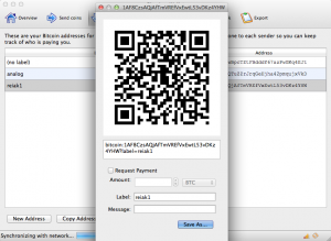 Bitcoin Wallet QR-code in Bitcoin-QT