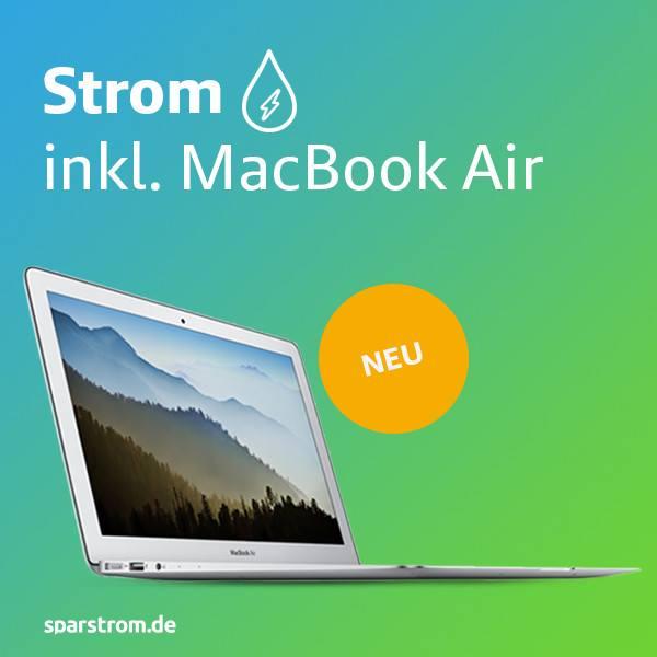 Apple Macbook Air auf grün-blauem Hintergrund