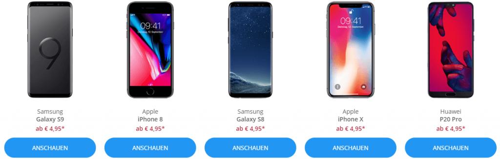 Auswahl Handys bei sparhandy