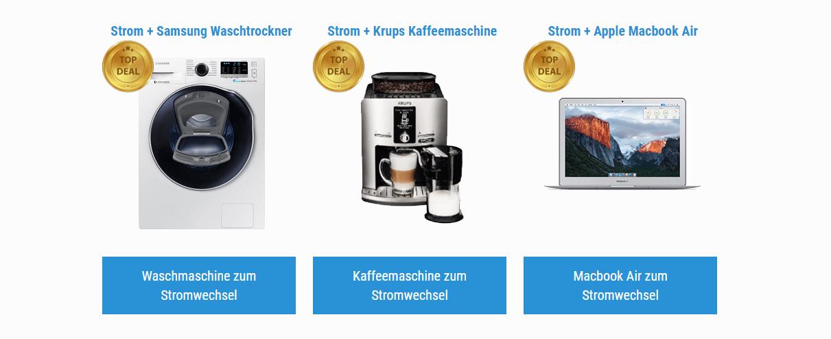 Waschmaschine, Kaffeemaschine und Apple Macbook als Prämien zum Stromwechsel
