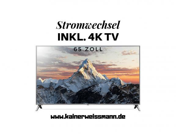 Strom mit Fernseher 4K LG 65 Zoll kainerweissmann.de