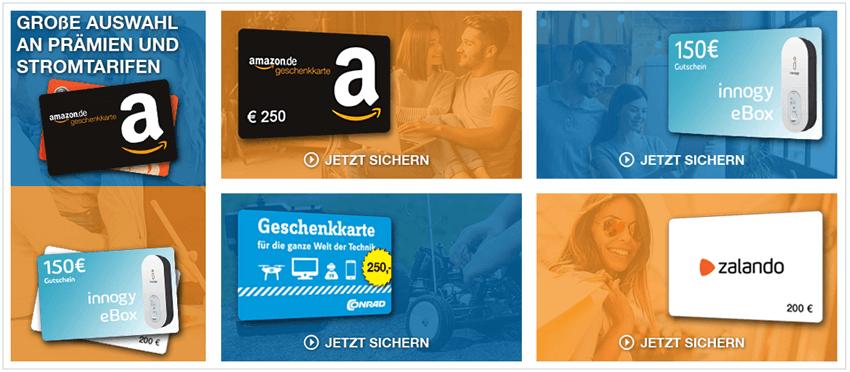 Amazon 250 € Gutschein neben Zalando 200 € Gutschein