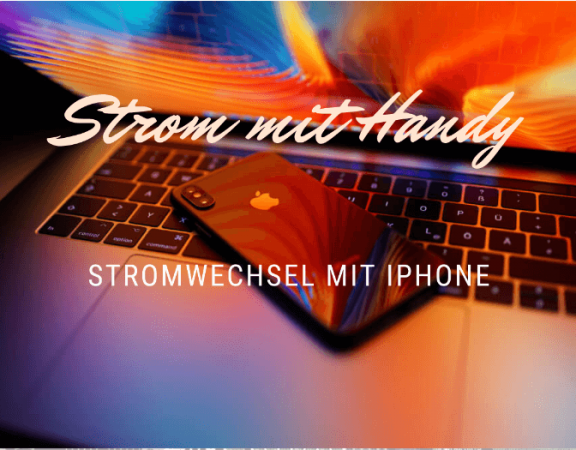 strom mit Handy, Apple iPhone auf Macbook