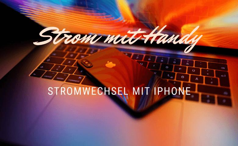strom mit Handy, Apple iPhone auf Macbook