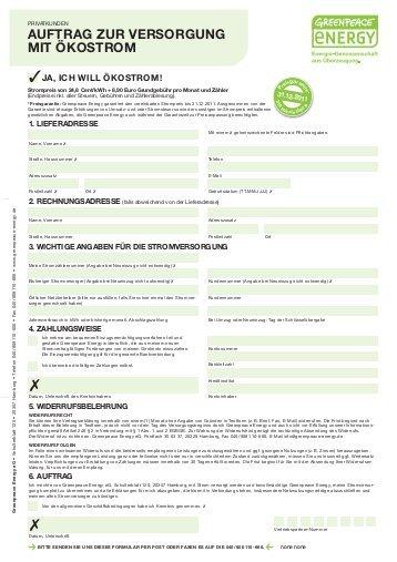Stromliefervertrag Beispiel Greenpeace Energy