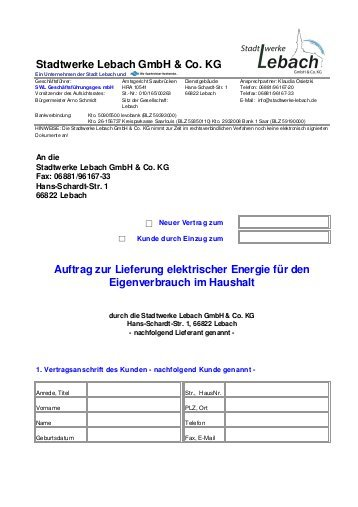 Stromvertrag Stadt Lebach