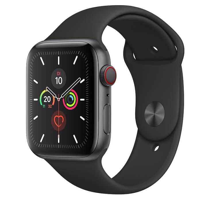 Apple Watch 5 in farbe schwarz von der Seite
