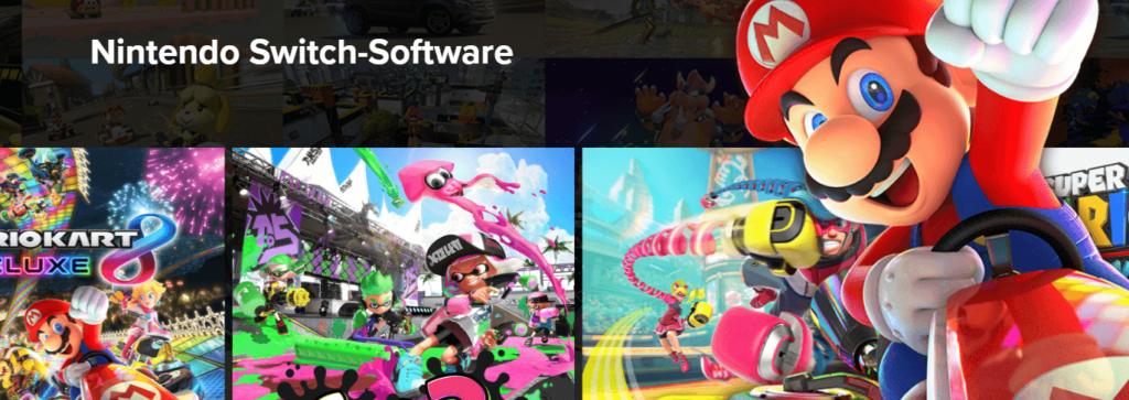 Spiele für die Switch alle auf einem Bild