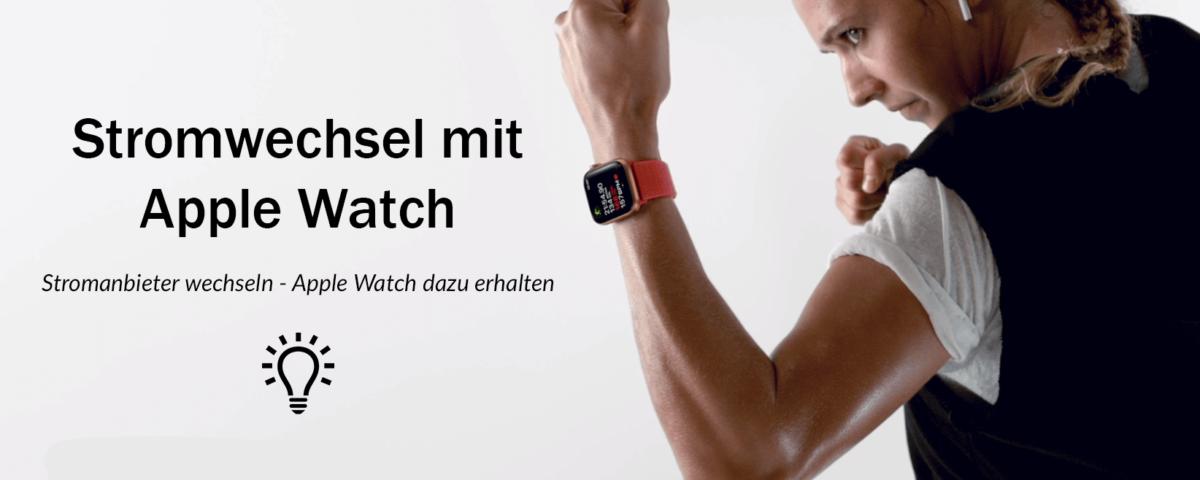 Frau mit Apple Watch am Handgelenk in Boxerstellung