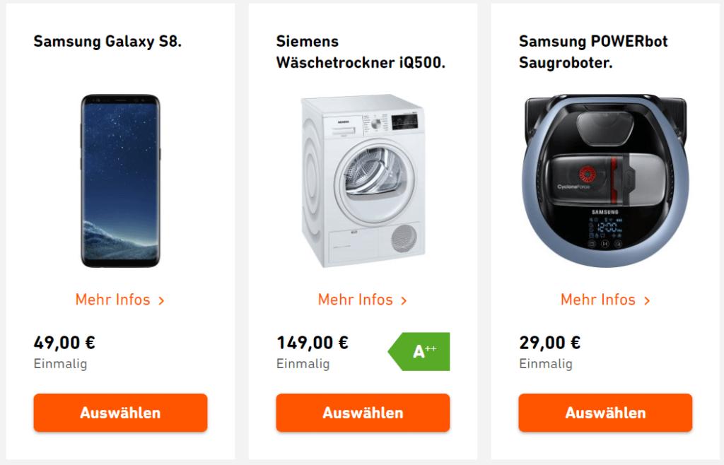 Wunschextras von Yello - Galaxy S8, Waschtrockner und Roboter