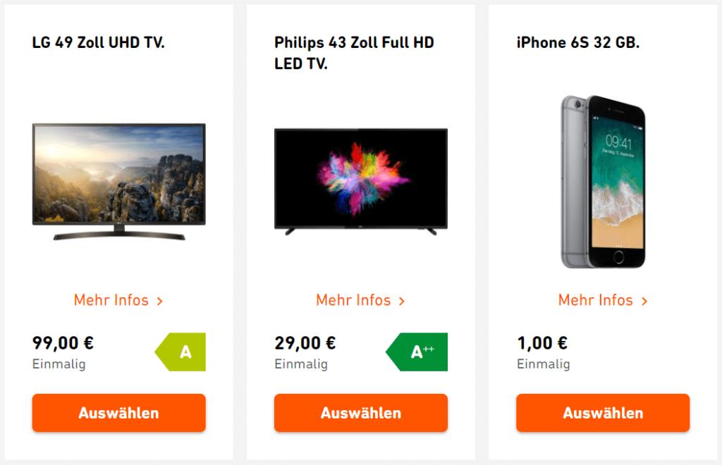 Strom mit Wunschextra von Yello: LG TV, Philips TV und iPhone 6s 32GB