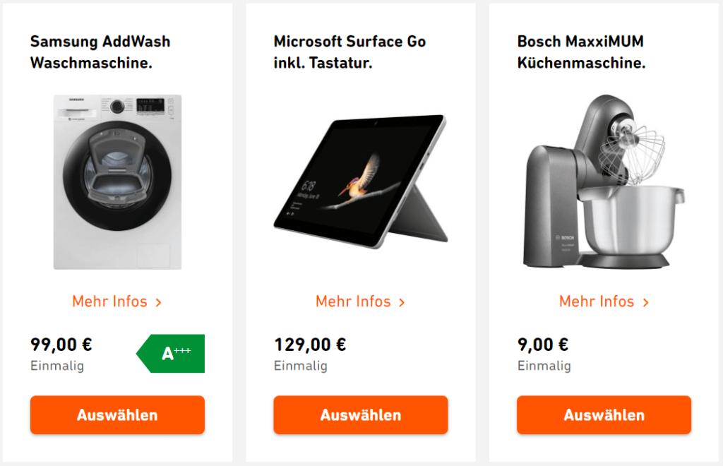 Wunschextra von Yello: Addwash Waschmaschine, Surface Tablet oder Bosch MaxxiMUM Küchenmaschine