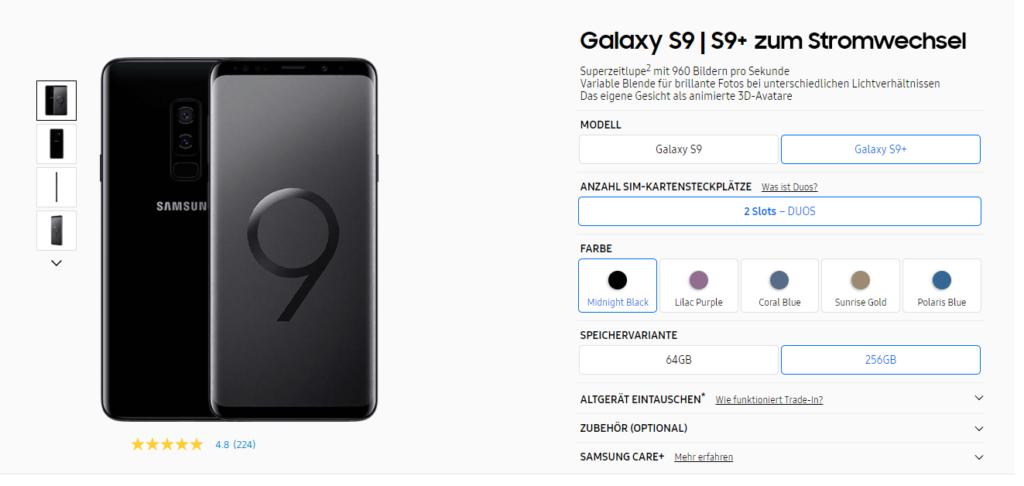 Stromwechsel mit Handy Galaxy S9