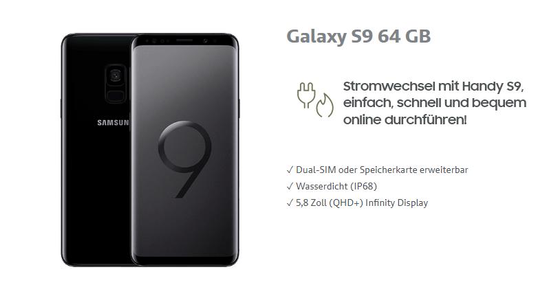 Handy Samsung Galaxy S9 in schwarz auf weissem Hintergrund