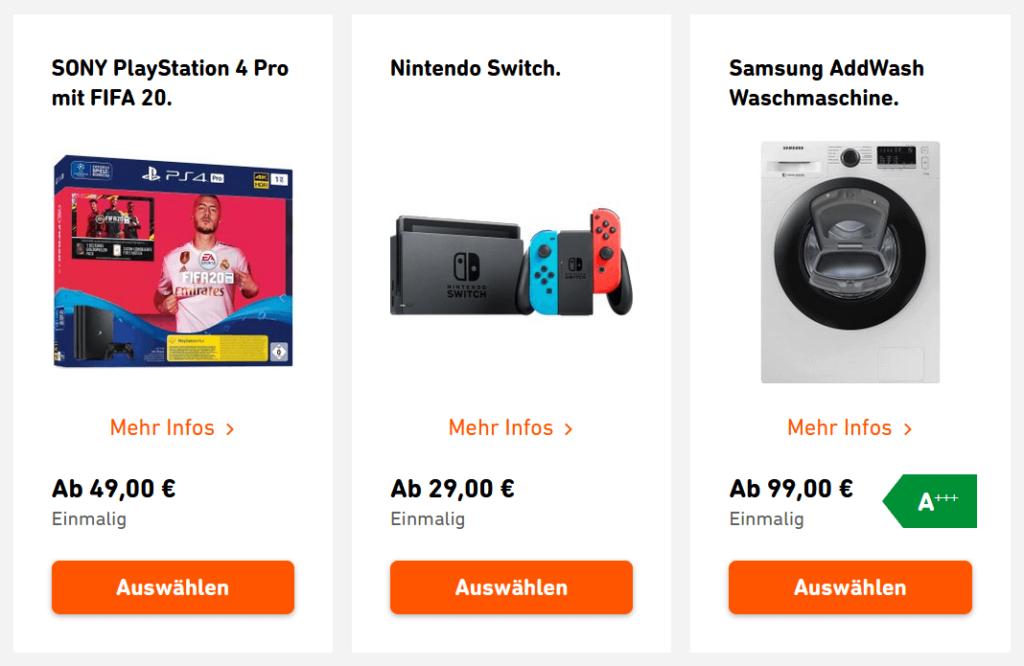 Yello gibt tolle Prämien zum Strom, hier gezeigt: Playstation Fifa Bundle, Nintendo Switch und Waschmaschine von Samsung
