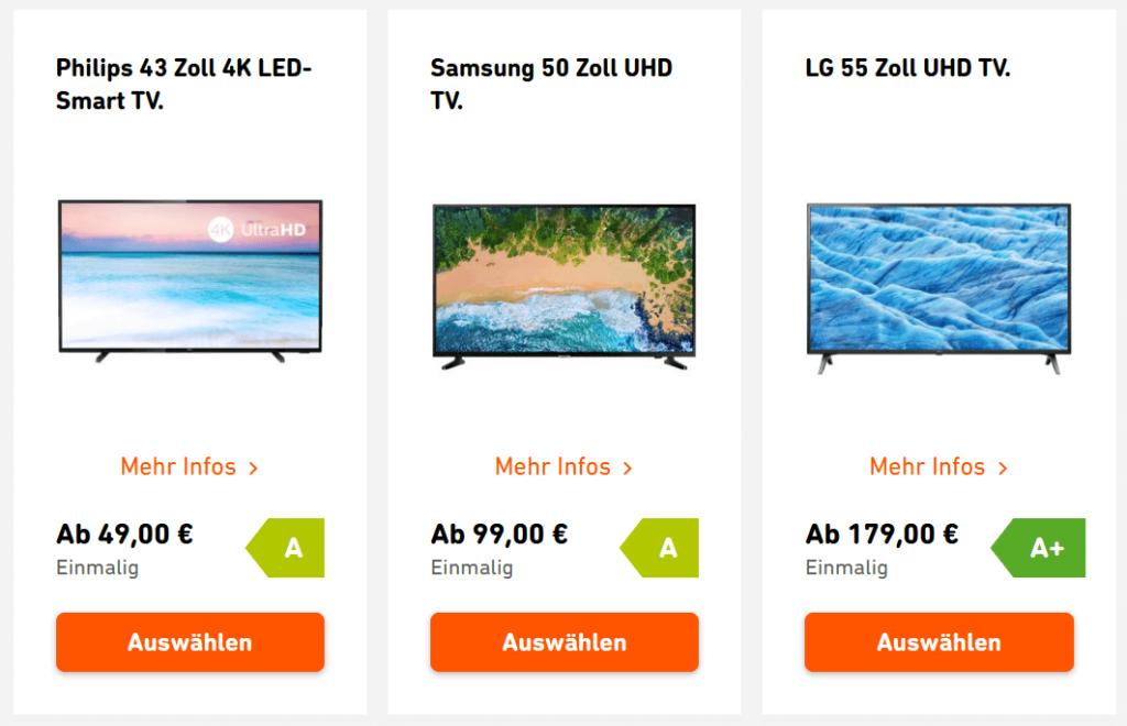 Yello Strom und Gas plus Prämie, hier gezeigt: 3 TV Geräte von Philips, Samsung und LG.